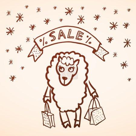 Christmas sale. Merry Christmas card. Funny sheep girl with pack