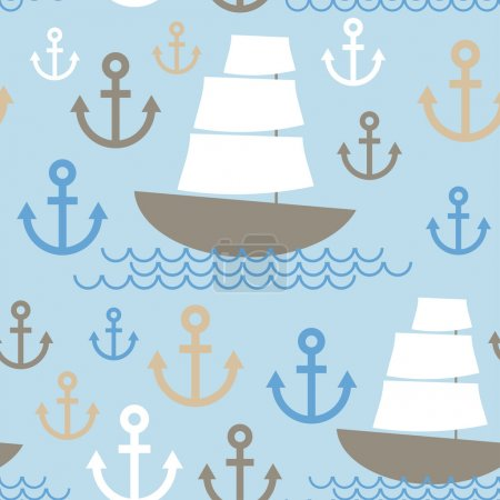 Light Blue Seamless background. Boat with white sails, sea ancho