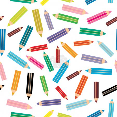 Flat design modern illustration seamless pattern with colored pencils on white background. Vector