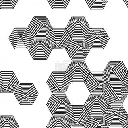 Illustration for Volumetric 3D pyramid seamless pattern. hexagon. Optical illusion background. Black and white lines. vector - Royalty Free Image