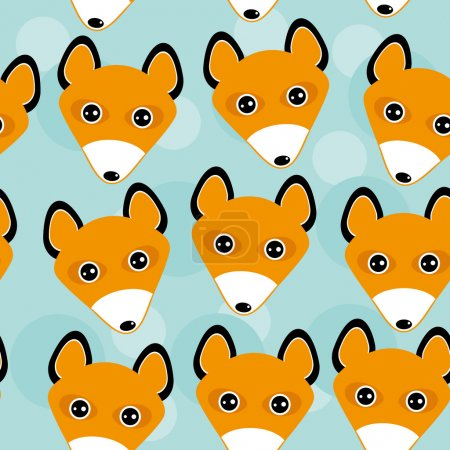 Fox Seamless pattern with funny cute animal face on a blue backg