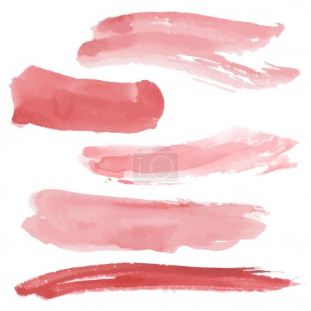Illustration for Red brush strokes set on white background. Watercolor. Sketch. vector  brush stroke, grunge border, watercolor texture, red abstract - Royalty Free Image