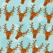 Deer Seamless pattern with funny cute animal face on a blue back