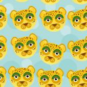 Leopard Seamless pattern with funny cute animal face on a blue b