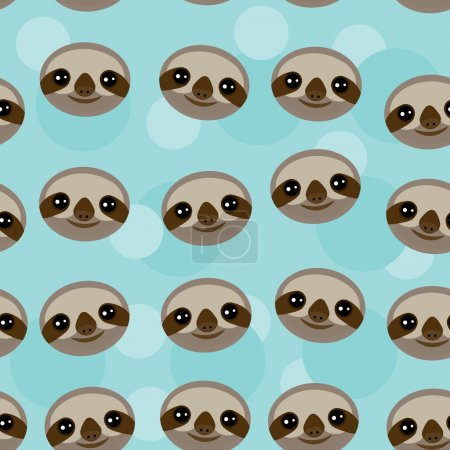 Seamless pattern Three-toed sloth muzzle on blue background. vector