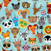 Seamless pattern cute face funny animals on blue background Vector