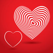 white heart on red background Optical illusion of 3D three-dimensional volume vector