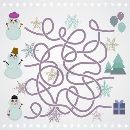 Snowmen labyrinth game for Preschool Children. vector
