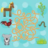chicken horse koala labyrinth game for Preschool Children Vector