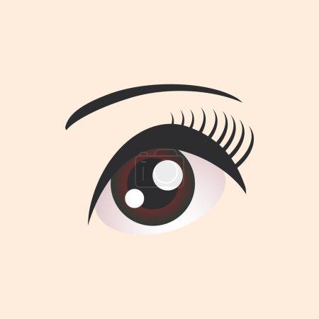 Beautiful brown female eye on beige background. Vector