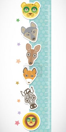 Children height meter wall sticker. Set of funny animals muzzle blue stiker with stars. Vector