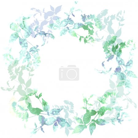 Illustration for Spring background, wreath with mint green leaves, watercolor. Round banner for text. Vector illustration - Royalty Free Image
