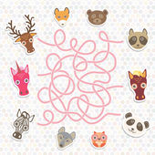 cute animals collection labyrinth game for Preschool Children Vector