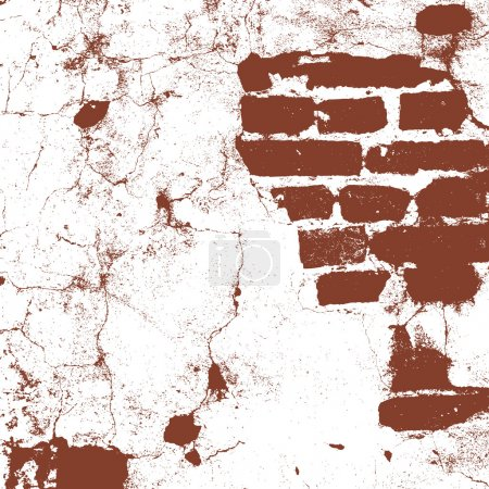 Illustration for Brickwork, brick wall of an old house, brown and white grunge texture, abstract background. Vector illustration - Royalty Free Image