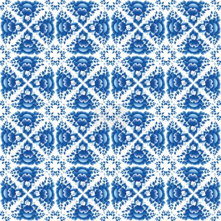 Illustration for Vintage shabby Chic Seamless pattern with blue flowers and leaves. Vector. - Royalty Free Image