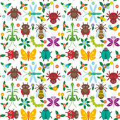 Funny insects Spider butterfly caterpillar dragonfly mantis beetle wasp ladybugs seamless pattern on white background with flowers and leaves. Vector
