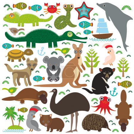 Animals Australia: Echidna Platypus ostrich Emu Tasmanian devil Cockatoo parrot Wombat snake turtle crocodile kangaroo dingo octopus fish. Set on white background.  Vector