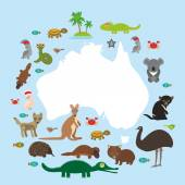 Map of Australia Echidna Platypus ostrich Emu Tasmanian devil Cockatoo parrot Wombat snake turtle crocodile kangaroo dingo octopus fish Vector illustration