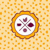 tea icons set with lemon seamless pattern on orange background Vector