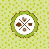 tea icons set with lemon seamless pattern on green background Vector