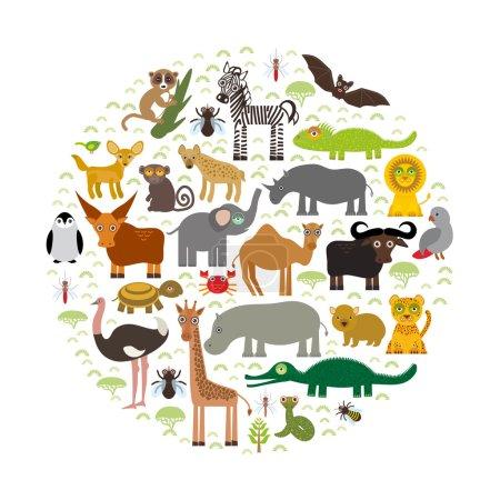 Illustration pour Afrique animale : perroquet Hyena Rhinoceros Zèbre Hippopotame Crocodile Tortue Éléphant Mamba serpent chameau moustique tsé autruche lémurien Caméléon Singe Fennec renard Léopard Girafe buffle Pingouin Vecteur - image libre de droit
