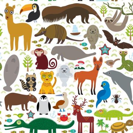 South America seamless pattern sloth