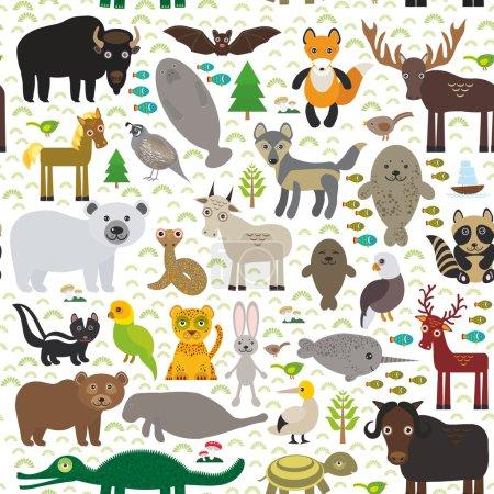 seamless pattern bison bat manatee fox elk horse wolf partridge fur seal Polar bear Pit viper snake Mountain goat raccoon Eagle skunk parakeet Jaguar hare narwhal elk Grizzly gannet Muskox turtle alli