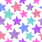 Sketch seamless pattern with stars Red pink lilac blue stars on white background Vector illustration