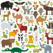 Seamless pattern bison bat fox wolf elk horse cock camel partridge seal Walrus goats Polar bear Eagle bull raccoon snake sheep panda leopard Brown bear deer gannet Crocodile turtle elephant Vector illustration