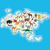 Eurasia animal bison bat fox wolf elk horse cock camel partridge fur seal Walrus goats Polar bear Eagle bull raccoon snake sheep panda leopard Brown bear deer gannet Crocodile turtle elephant Vector illustration