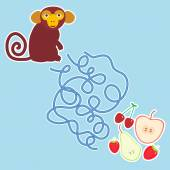 Monkey and apple pear strawberry cherry labyrinth game on blue background for Preschool Children Vector