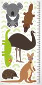 Animals Australia - koala kangaroo lizard platypus echidna emu Children height meter wall sticker Vector