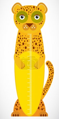 Funny leopard on white background Children height ...