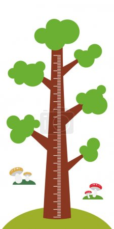 Big tree with green leaves on white background Children height meter wall sticker, kids measure. Vector