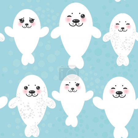 Seamless pattern Funny white fur seal pups, cute winking seals with pink cheeks and big eyes. Kawaii animals on blue background. Vector