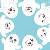 Card design Funny white fur seal pups cute winking seals with pink cheeks and big eyes Kawaii albino animals on blue background Vector illustration