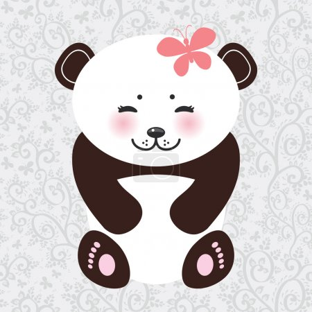 Kawaii funny panda white muzzle with pink cheeks and closed eyes. Vector