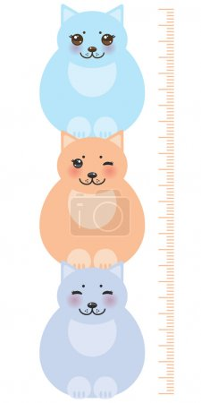 set funny cats, pastel colors on white background Children height meter wall sticker, kids measure. Vector