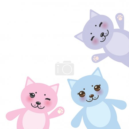 Card design set funny cats, pastel colors on white background. Vector