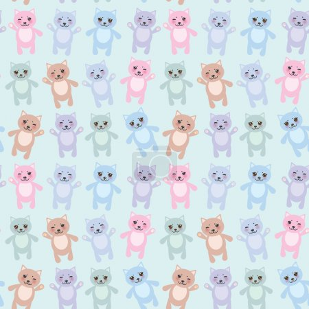 Seamless pattern funny cats pastel colors on blue background. Vector