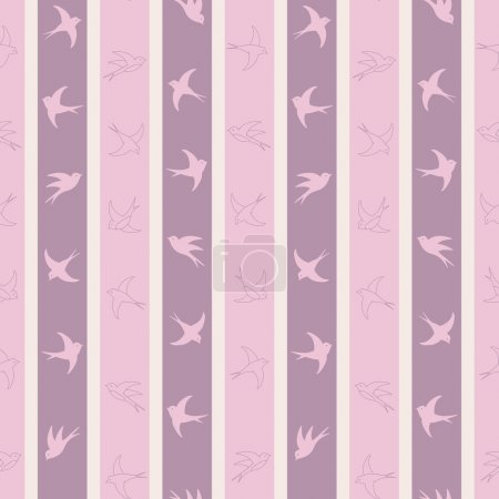 Cute bird seamless pattern in pastel shades