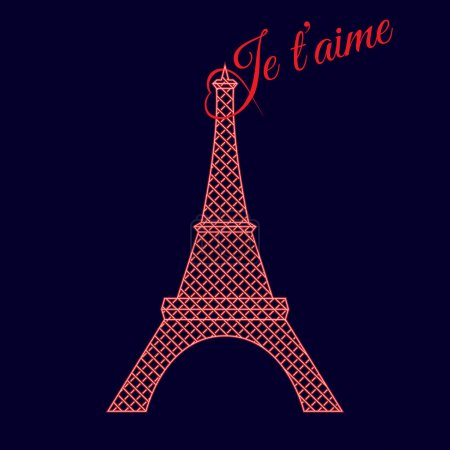 Neon lights eiffel tower silhouette with text