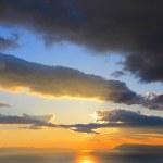 Sunset over the sea on the Makarska Riviera in Cro...