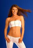 White Stripped Tube Top and Pants - Blue Background - Brunette - Wind in Hair