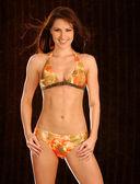 Tan Orange Bikini - Dark Browm Background