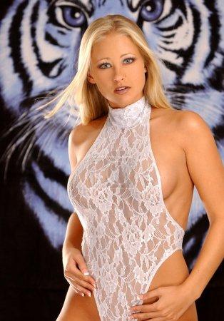 Photo pour Lumière bleue pure une pièce lingerie - yeux de tigre bleu foncé - incroyablement chaude blonde bombshell - plusieurs vues - image libre de droit