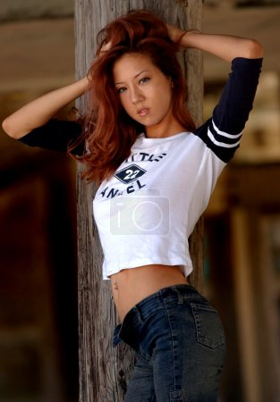 Playboy Model Angela Storms - Little Angel Shirt - Tight Blue Jeans
