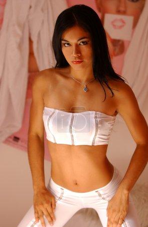 Miss Peru 2005 - White Top and Pant - Bedroom Studio - Boudoir Pink Drape Scene