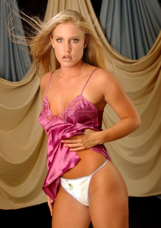 Satin Pink Slip - White Flowered Panties