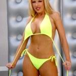 Постер, плакат: Miss Nude Universe 2005 Un Tied Yellow Bikini Top